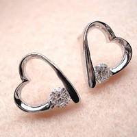 Amazon.com: Zirconium Crystal Heart Earrings Declared Love Jewelry for Girls: Sports & Outdoors