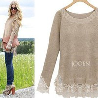 Afternoon Soiree Lace Hemed Camel Knit Cozy Soho Chic Tunic Sweater 15-67 M