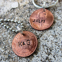 Hand Stamped Anniversary Penny set with by DesignByAnyOtherName