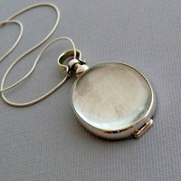Oval Glass Locket, Sterling Silver Necklace