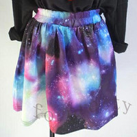 Women's Digital Galaxy Print Space Cosmic Sky High Waist Puff Skirt