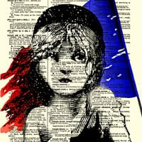 Cosette in Color, Les Miserables Antique Dictionary Art Print, Dictionary Page, Wall Decor, Mixed Media Collage