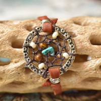 Turquoise and Tiger's Eye Dreamcatcher Bracelet