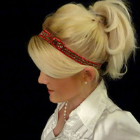 Christmas/holiday glitter bow headband - red and green stripe - feminine - festive - sparkle