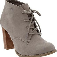 Women's Faux-Suede Heeled Oxfords | Old Navy