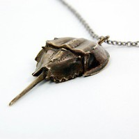 Bronze Horse Shoe Crab Necklace Pendant Ocean by GwenDelicious
