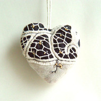 Winter Heart, Textile Ornament, Upcycled Lace, Quilted White, Wall Art, Love Friendship Heart
