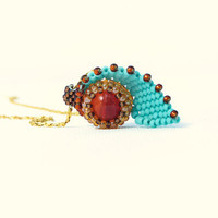 Evil Eye Turquoise red pendant necklace. Unique New Design seed bead jewelry gold field chain