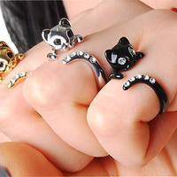CHRISTMAS SALE - Buy 2 Get 1 Free & 15% COUPON Code for all shop items - Limited Time - Beautiful Swarovski Crystal Cat Ring