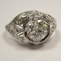 1.14ct GIA VS2 1900 Edwardian period  Original Diamond Engagement ring in Platinum