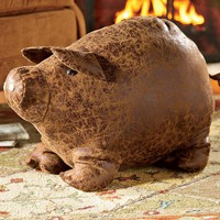 Faux Leather Dog Or Pig Ottoman - Plow & Hearth