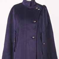 Cozily Trench Cape Coat in Midnight Blue - Outer - Retro, Indie and Unique Fashion
