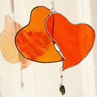 Stained Glass Heart Doublet Vivid Orange Suncatcher by GaleazGlass