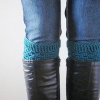 Crochet Boot Cuffs Luxe Cuffs Merino Wool Socks Boot Toppers in Emerald