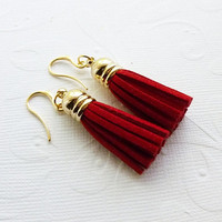 Red Tassel Earrings - Christmas Jewelry