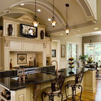 dream home / Gorgeous kitchen...and a TV, too! Love it.