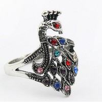 Vintage Multicolor Peacock Cocktail Ring at Cheap Fashion Jewelry Online Store Gofavor
