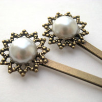Victorian Pearl Bridal Hair Pins - bobby pins, small, antique brass, filigree, tagt