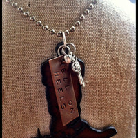 "Hand Stamped, Rustic, Recycled Metal Cowboy Boot  with Spur Pendant Charm Necklace ""HELL ON HEELS"" Jewelry"