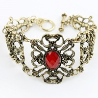 Vintage Engraved Flower Ruby Bangle Bracelet at online fashion store Gofavor