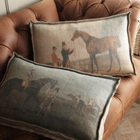 Vintage-Look Horse Pillows - Horchow