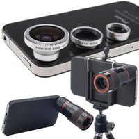 Lens Kit 4 in 1 Set 8 X Zoom Telescope Wide Angle Macro Fish Eye Micro Lens with Tripod for iPhone 4
