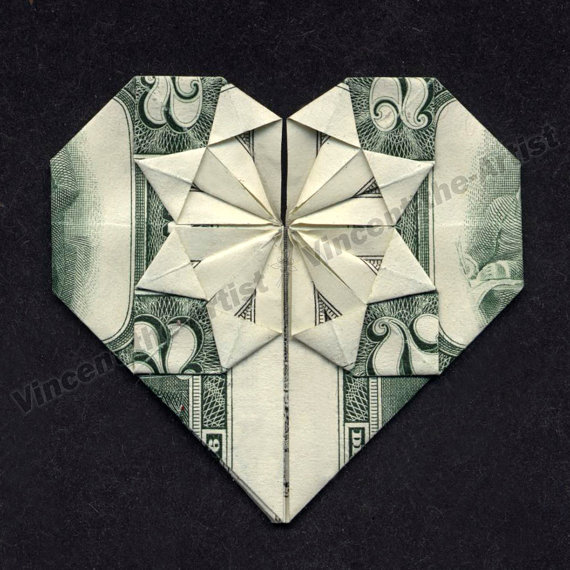 money origami heart dollar bill quotes