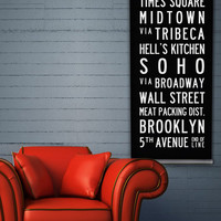 NEW YORK Subway Art, NYC Bus Scroll, Canvas Art by TheMemoryGallery