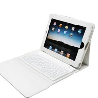 White Ipad 2 & Ipad 3 Leather Case With Stand & Bluetooth Wireless Keyboard + NEW Easy Sync feature