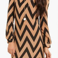 Taupe/Black Dolman Chevron Dress