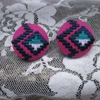 Tribal Print Covered Button Earrings