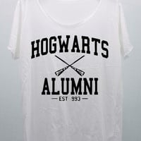 Hogwarts Alumni EST 993 T Shirts White Tank Top Tunic  women handmade silk screen printing Size M L