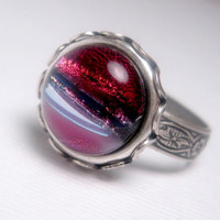 Pink Moon Galaxy Ring - Dichroic Glass
