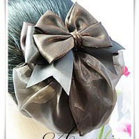 Sn2936 Beautiful Satin Ribbon Brown Bow Barrette Snood Hair Net Hair Band Dance Ballerina