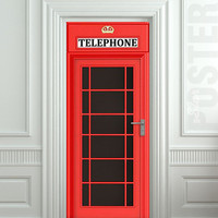 "Door STICKER Telephone Box London red mural decole film self-adhesive poster 30x79"" (77x200 cm)"