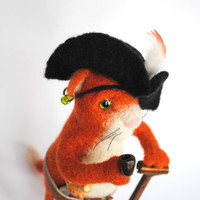 Needle Felted toy Wool Animals, ginger  pirate cat , soft sculpture, OOAK