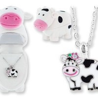 DM Merchandising Crystal Cow Necklace in Figural Gift Box