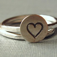 sterling heart ring ONE RING by SilverMadeStudio on Etsy