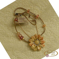 Statement Ceramic Jewelry, Handmade Necklace Ceramic Pendant, Flower Pendant, Peach Cream Ceramic, Glass Beads