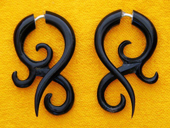 Fake Gauges  Small Horn Asalah Twists by TribalStyle on Etsy