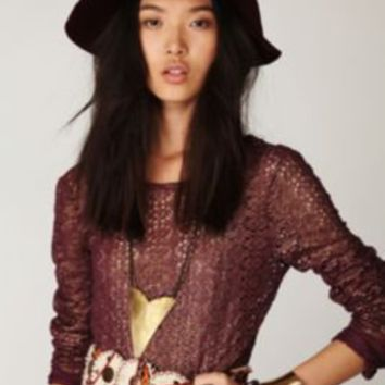 Free People Lurex Crochet Long Sleeve Top at Free People Clothing Boutique