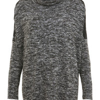 Grey Textured Roll Neck Top