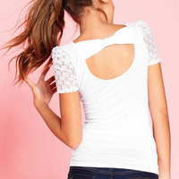 Lace Ruched Short Sleeve