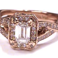 Engagement Ring - Pink Gold Emerald Cut Diamond twisted Band Engagement Ring 0.72 tcw. - ES359RG