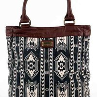 Billabong Tribal Print Laptop Maume Leather Trim Bag Purse Tote Backpack Handbag