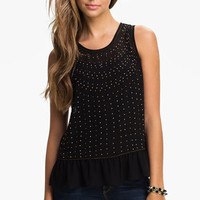 Chloe K Studded Ruffle Tank (Juniors) | Nordstrom
