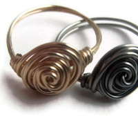 Twist ring set, Rose swirl Ring, Rosebud Wire ring set, Friendship rings, Sister rings, Wire ring