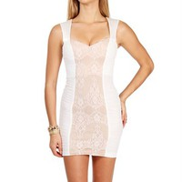 Mika-Ivory Lace and Mesh Dress