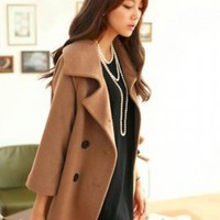 Korean Fashion Coffee Medium Sleeve Comfortable Coats  : Wholesaleclothing4u.com