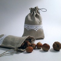 Linen Pouch / Bags  Set of 4 Natural Linen Gift by LinenLifeIdeas